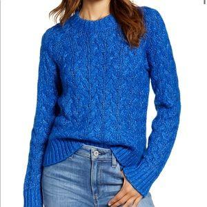 Lucky Brand Womens Crewneck Ribbed Trim Sweater